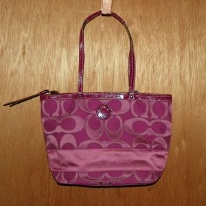 Coach Signature Outlined C Sateen Tote Purse NWOT